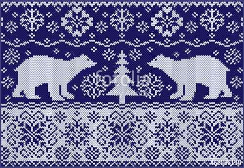 """Download the royalty-free vector """"Knitted ornament with white bears. Northern pattern."""" designed by olgdesigner at the lowest price on Fotolia.com. Browse our cheap image bank online to find the perfect stock vector for your marketing projects!"""