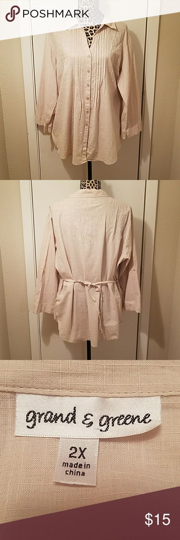 Grand and Greene Tan Tuxedo Front Button Down Top Item is in excellent condition. No rips, stains, snags or tears. Great neutral color to go with any outfit. Sleeves can be pinned up and there is a tie back to accentuate a tiny waist. Grand and Greene Tops