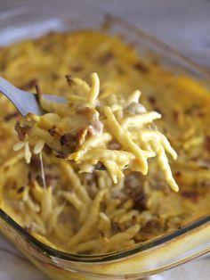 Trofie al forno con crema di zucca e salsiccia