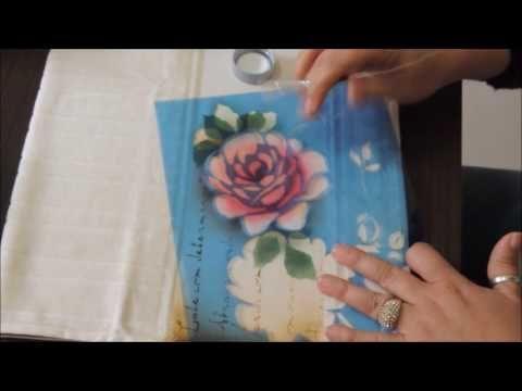 Stencil OPA - 01/04/16 - Mayumi Takushi - Vaso de Hortênsias no Tecido - YouTube