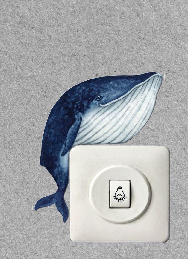 Lichtschalterfigur liegender Wal / decoration for light switches, laying whale by ADAMS-BRAUT via DaWanda.com