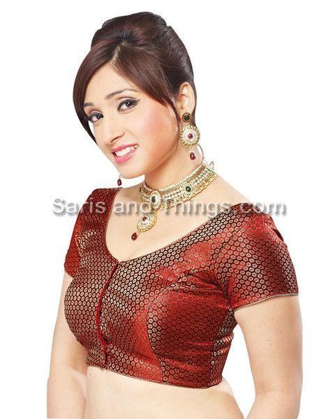 Maroon Brocade Party Wear Readymade Sari Blouse 81 SL | Saris and Things