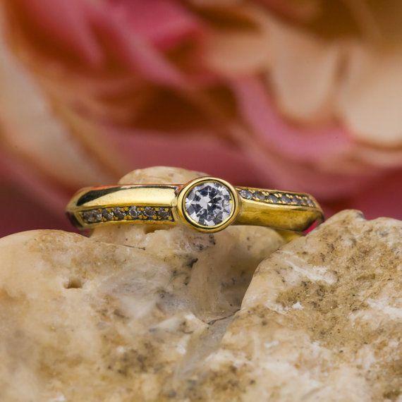 Sides Natural Brilliant Cut Diamonds Engagement by ZEHAVAJEWELRY