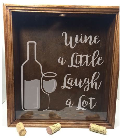 Wine Cork Box - Wine a Little, Laugh a Lot - cork holder, wedding gift, cork box, shadow box, wine corks, wine cork shadow box, cork display by sketchedglass on Etsy