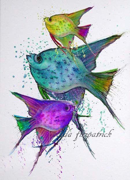 Nada sobre la vida de mar y océano me fascina. La vida y bellos colores  debajo de las aguas.  La pintura de peces está formada en un diseño, con colores específicos.  Es ideal para exhibición de vivero, así como por un espacio más pequeño para añadir un toque de color.    No incluye la estera.  http://www.etsy.com/shop/valdasfineart