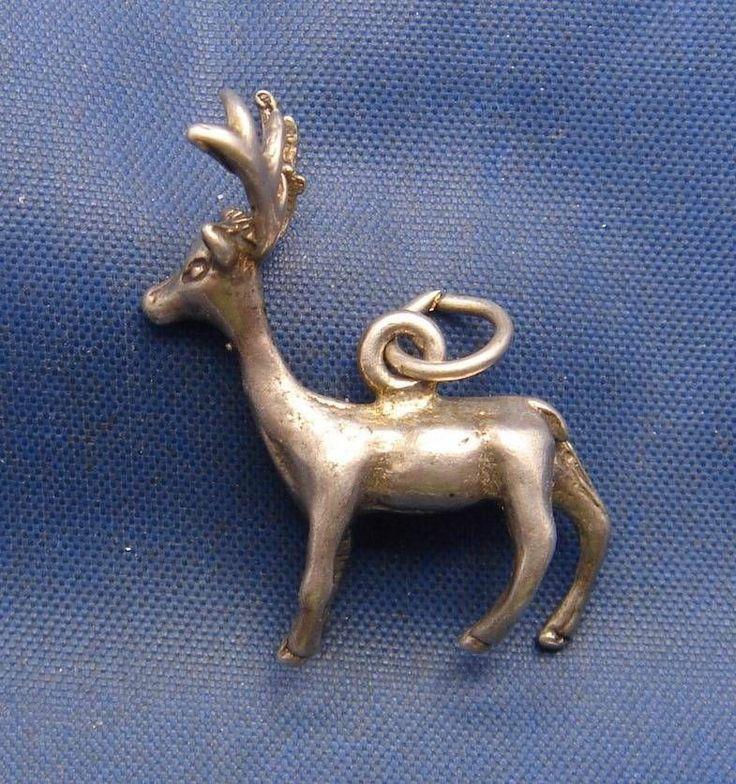 Vintage Sterling Silver Deer Buck with Antlers Charm