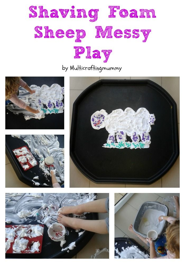 Tuff Spot activity for toddlers. Shaving foam sheep messy play with waterbeads.