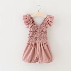 [ 25% OFF ] Ruffled Chocolate Overalls Princess Girls Summer Jumpersuit Hot Kids Crochet Lace Jumpers Suit 2-7 Yrs Retail