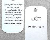 25 Personalized Jordan Almond Poem Favor Tags