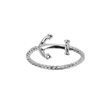 | Sailor's anchor ring with twist rope band - In solid sterling silver | #anchorring #sterlingsilverrings #anchor #anchorjewellery #silverrings #handmaderings #handcraftedrings www.pinchandfold.com