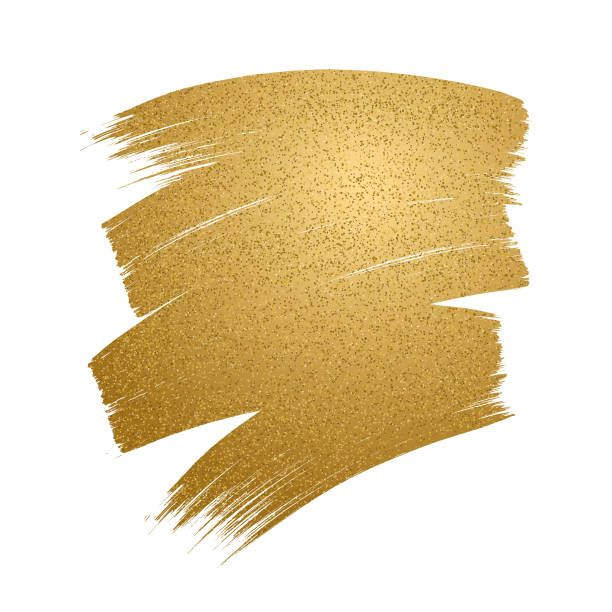 Glitter Golden Brush Stroke On White Background Vector Art