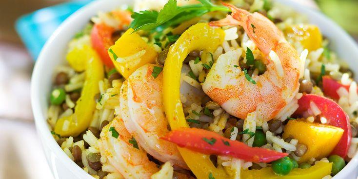 Salade de riz indienne aux crevettes