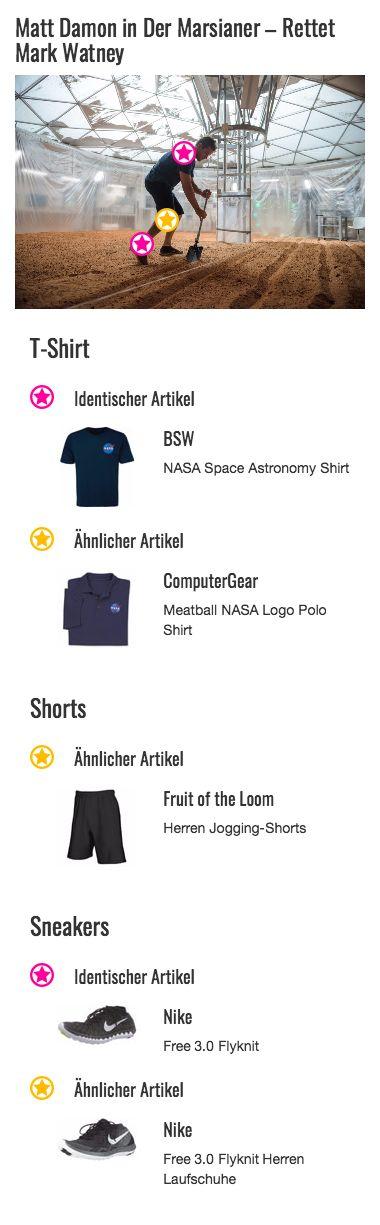 Im sportlichen NASA-Look macht sich Mark Watney (Matt Damon) an die Arbeit. Das ist in seinem blauen T-Shirt mit NASA-Logo auch ohne Einschränkungen möglich, da dessen Baumwollstoff die perfekte Grundlage für ein funktionales Arbeitsoutfit liefert. Ein weiteres Plus ist die weiche, elastische Qualität des Oberteils und die dennoch moderne Passform. Mit diesem Style geht die Gartenarbeit doch gleich viel leichter von der Hand!