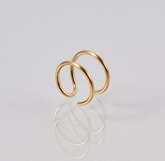 14K Gold Double Nose Ring  Fake Double Nose by DazzlingAdornments