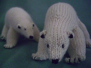 Peabey the Polar Bear is a realistic, soft stuffed toy suitable for all ages. Made in sport weight yarn (or worsted, for a slightly larger finished bear), Peabey is worked in the round from the rump forward on dpns, and can be finished in an evening or two--perfect for a last-minute winter gift and a great stash-buster, too! Use soft organic cotton for a baby gift, or angora for a fuzzy charmer that kids of all ages will love.
