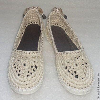 Обувь ручной работы. Ярмарка Мастеров - ручная работа. Купить Балетки вязаные Льняной шик, лен, белый. Handmade.