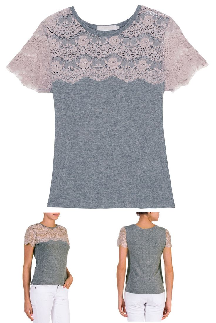 Easy to make so... DIY -- Get tank tops on clearance right now and add lace to make t-shirts!!! LOVE!!