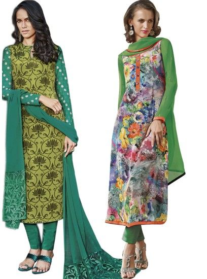 Beautiful Green & Multi Colour Crepe Straight Cut Style Combo Suit D.No.- 6542,6549