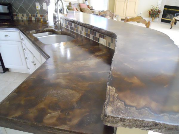 Kitchen barn interior stained concrete floors and countertops | brown acid stained concrete countertop brown stained concrete porch ...