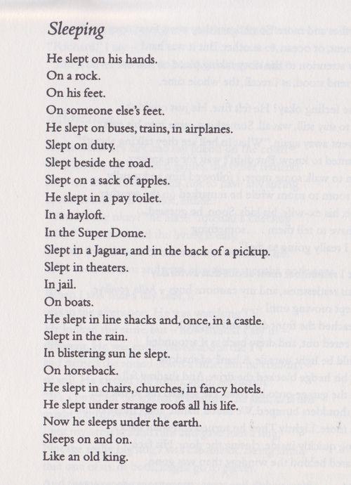 Sleeping by Raymond Carver