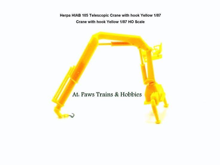 Herpa HIAB 105 Self load Telescopic Crane with hook Yellow 1/87