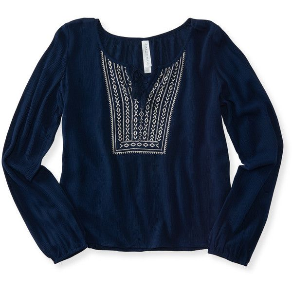 Aeropostale Long Sleeve V-Notch Peasant Top (825 PHP) ❤ liked on Polyvore featuring tops, shirts, navy dream, embroidered peasant top, blue top, peasant tops, tassel top and long sleeve tops
