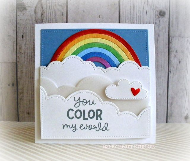Lawn Fawn - Puffy Cloud Borders, Rainbow, Spring Showers, Stitched Square Stackables, Color My World _ card by Nancy for Lawn Fawn