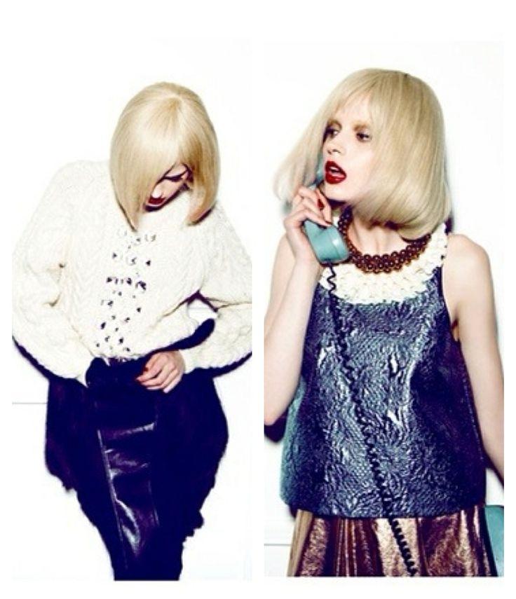 JOANNE HYNES | Crystallised Aran Sweater and Skirt | Vogue Italia | February 2012