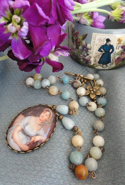 jane austen amazonite gemstone necklace