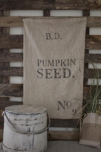 seed sackRustic Farmhouse, Primitives Pumpkin, Grains Sack, Feeding Sack, Fine Farmhouse, Crafts Burlap Feedsack, Farmhouse Pumpkin Decor, Pumpkin Seeds, My Style