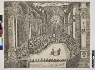 Council of Trent in full session.  c.1650 Engraving