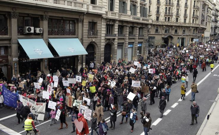 People take part during the Women's March rally in Barcelona, Spain, Jan. 21, 2017.