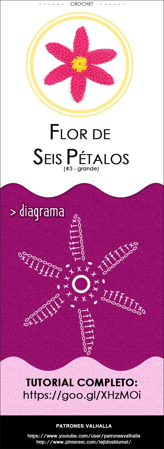 #Flor de Seis Pétalos a #Crochet 3 (grande) | #PatronesValhalla