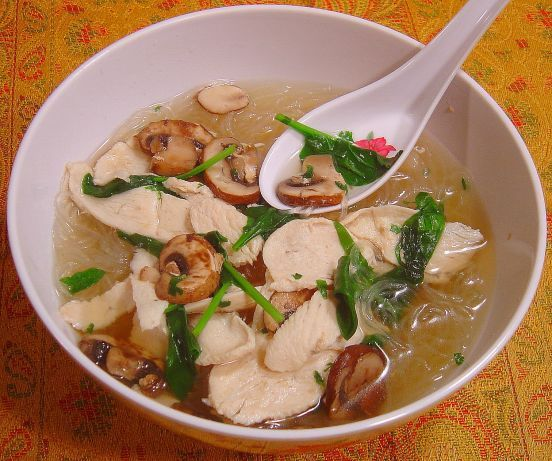Makes for a very filling and easy soup with very few calories!  If you havent tried rice noodles before, give this recipe a whirl.