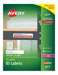 Avery® White Permanent Durable ID Labels for Laser Printers 6577, Packaging Image