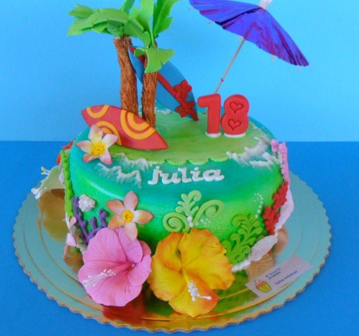 Tortas De Hawaianos Fondant cakepins.com