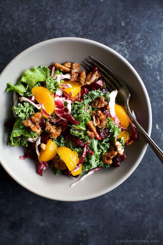Mandarin Orange Cranberry Kale Salad with Candied Pecans