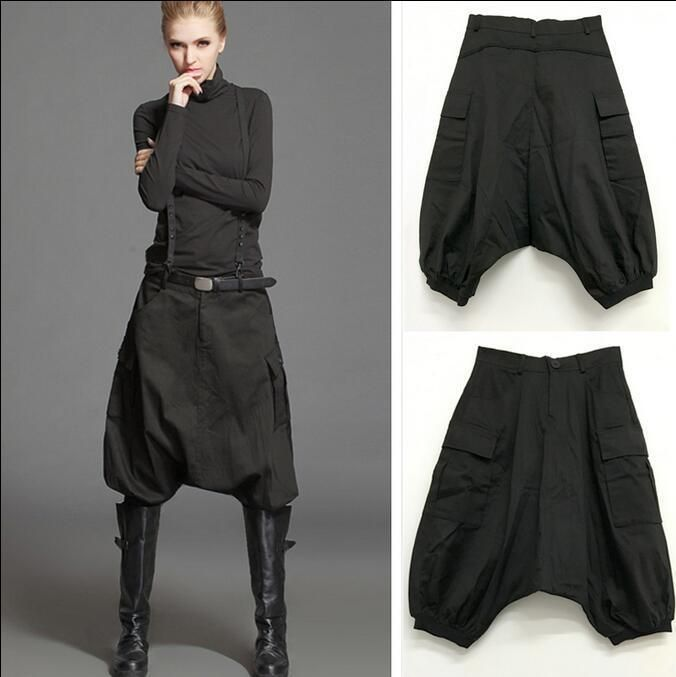 New Women Casual Skirt Pants Short Harem Trousers Cotton Autumn Black Rock Pants