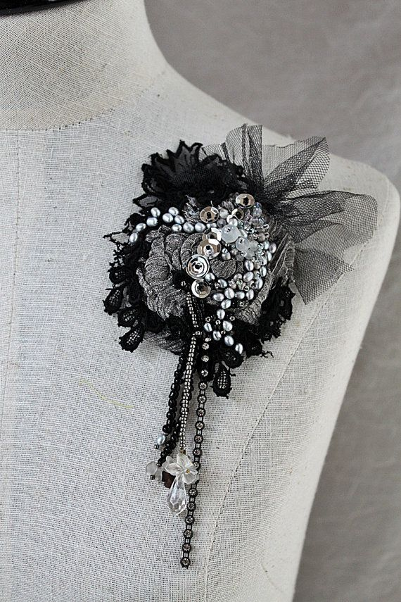 BLACK WIDOW Black and Silver Beaded Textile by carlafoxdesign