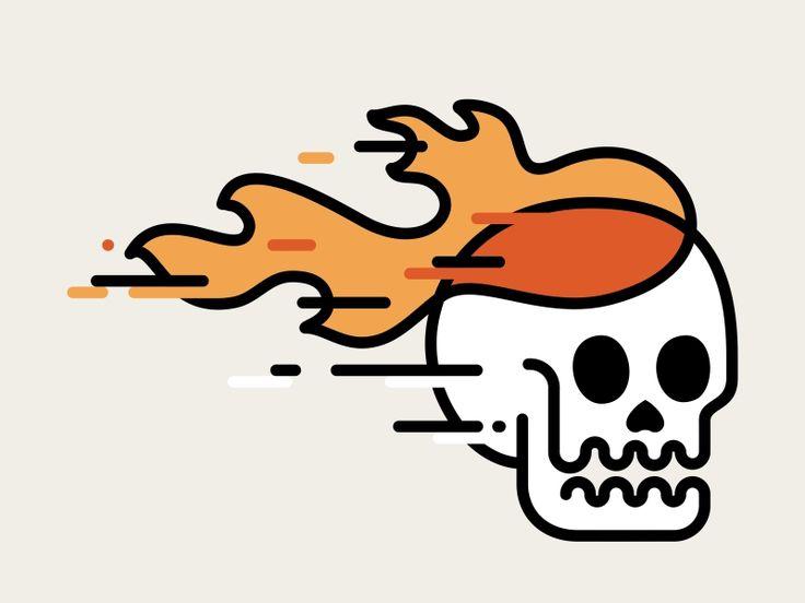 Skull On Fire Outline by Aleksandar Savic #Design Popular #Dribbble #shots