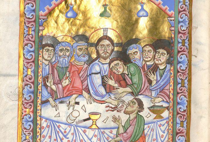 The Passau Evangelary, Munich, Bayerische Staatsbibliothek, Clm 16002, Passau Evangelary - The Last Supper, f. 15v