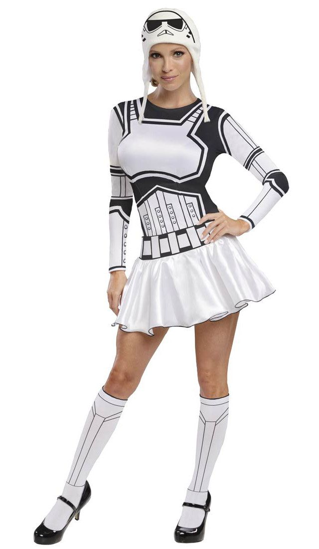 make it longer and with tutu, but simple for storm trooper, just change the helmet for the one i can make from milk jugs