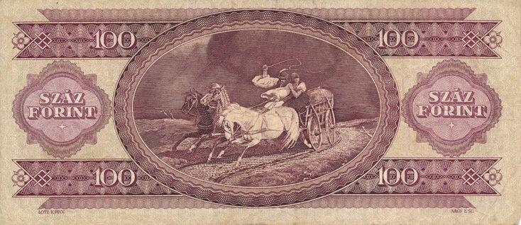 Rückseite des alten Geldscheins zu 100 Forint