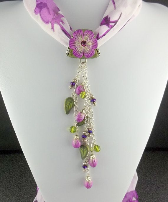 Scarf Jewelry Necklace in Magenta Purple by 2GoodClaymates on Etsy, $45.00