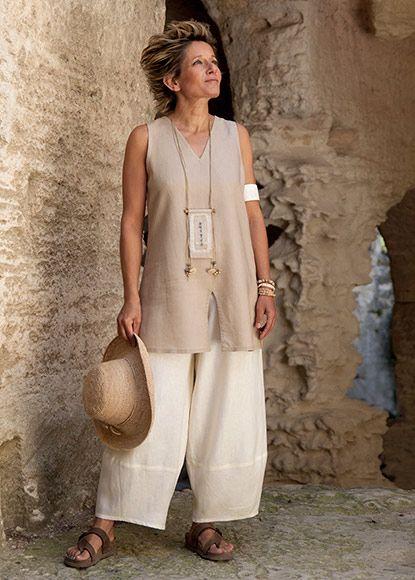 Amalthee Safari Style Sleeveless Beige Linen Tunic 98