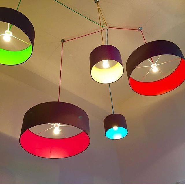 One of our 5 way ceiling rose kits with multi coloured lighting cables and pick and mix pendant lamp shades in a range of sizes for a  new office refurb. Colour at it's best!
