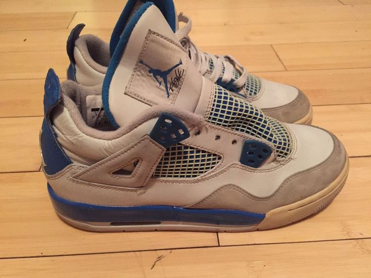 Nike Air Jordan IV Size 6Y Retro Military Blue White 408452 105 Authentic # Nike #