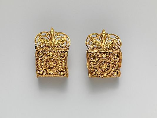 Pair of gold a baule earrings Period: Archaic Date: 6th century B.C. Culture: Etruscan Medium: Gold
