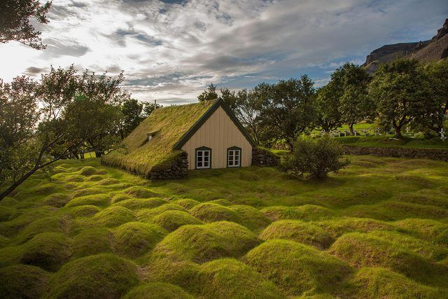 greenhousePhotos, Nature, Beautiful Places, Hofskirkja Iceland, Children, Cottages, Travel, Little Church, Hobbit House