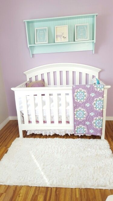 Max's Purple and Teal Shabby/Chic nursery. Brooklyn bedding by Pottery Barn Kids (missing bumper pads, replaced with Breathablebaby solid white mesh bumpers)